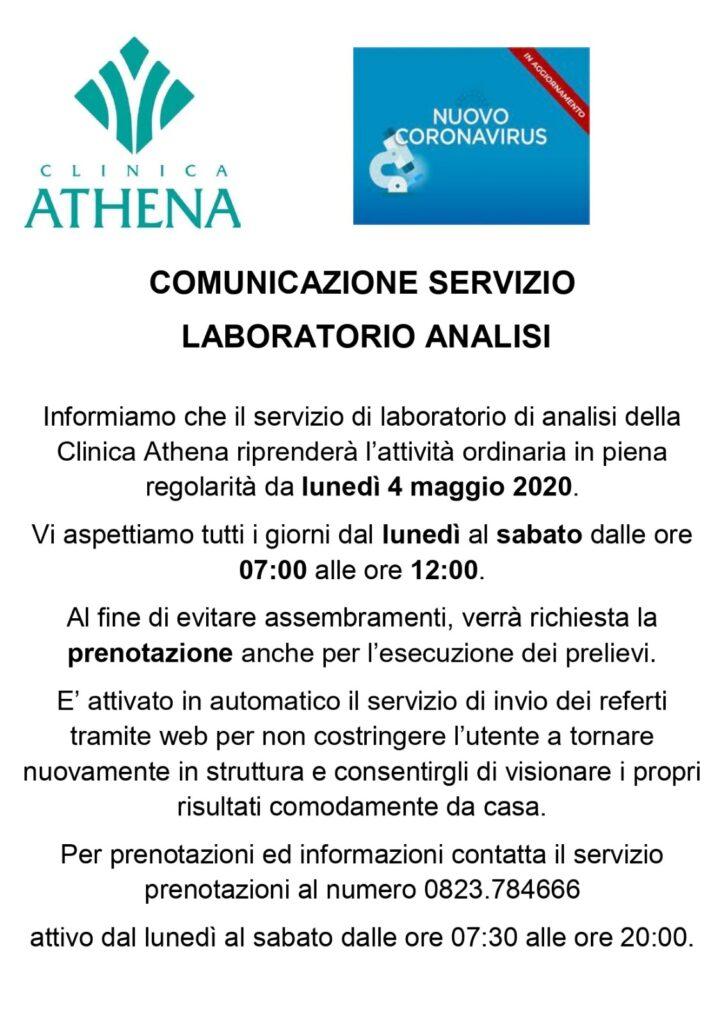 Comunicazione servizio Laboratorio Analisi